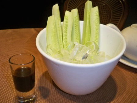 Cucumber with soy wasabi shot