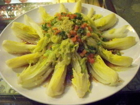 Steamed Baby Napa Cabbage with Glass Noodles in Garlic