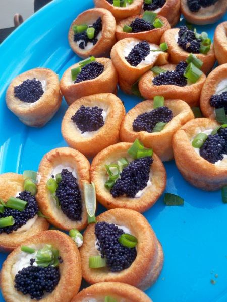 Yorkshire Puds with Soured Cream, Spring Onion & Lumpfish Caviar
